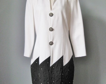 Black and White Cocktail Dress / Vtg 80s / Karen Lawrence Power 80s Black and White Cocktail Dress / soutache embroidery /rhinestone buttons
