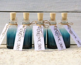 10 Blue Glass Drink Me Favors Alice in Wonderland Drink Me Bottles Drink Me Tags For Alice In Wonderland Party Tea Party Favors