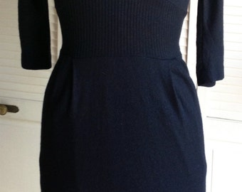 1950s Sleek Black Wool Jersey Dress