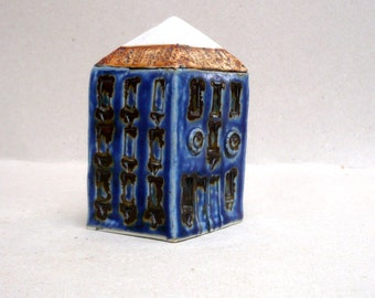 Miniature House , Dark Blue And  White Architecture , Collectible House ,Ceramic Sculpture