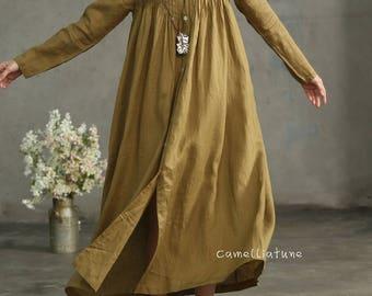 Golden Linen Shirt Dress, Drop Shoulder Linen Dress, Maxi Linen Dress, Long Linen Dress, Pleated Dress, Cocktail Dress, Oversized Dress