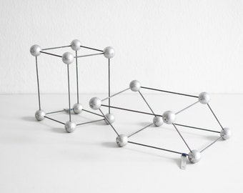 2 chemistry models, atom models, lab supply geometric sculpture teaching material