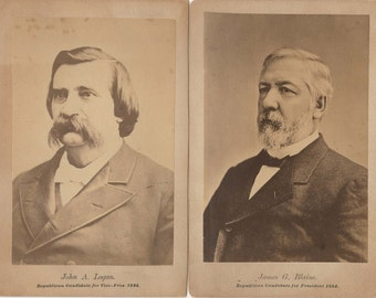 Pair of Advertising Cabinet Cards ~ 1884 Republican President/VP Candidates ~ Blaine/Logan
