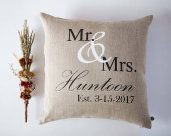 Mr and Mrs throw pillow - custom pillow cover - wedding gifts for couple - wedding cushion cover - anniversary gift pillowcase - engagement