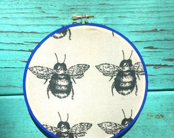 BEES KNEES / Cubicle Wall Art / Upcycled Fabric Hoop Wall Hanging / Office DECOR