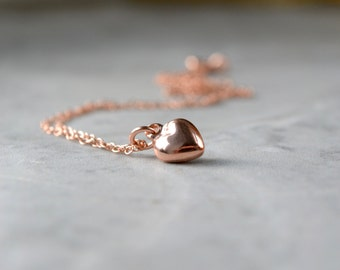 Rose Gold Heart Necklace, Dainty Pendant Necklace, Tiny Rose Gold Necklace, Dainty Heart Necklace, Rose Gold Jewelry, Best Selling Wife Gift
