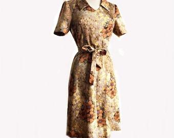 Vintage 70s floral satin dress/ earthy brown beige gold & orange/ handmade vintage dress/ secretary dress