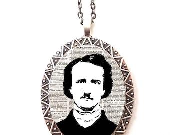 Edgar Allan Poe Necklace Pendant Silver Tone - Goth Author English Literature Majors Gift the Raven