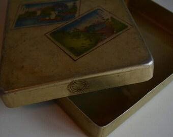 Bento lunch box, vintage Japanese tin bento lunch box