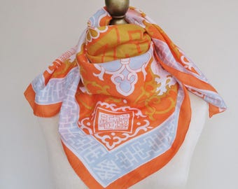 Square SILK scarf, orange silk scarf, Asian scarves, ladies headscarf, women's neckerchief. hand rolled, pagoda pattern, East Asian silk