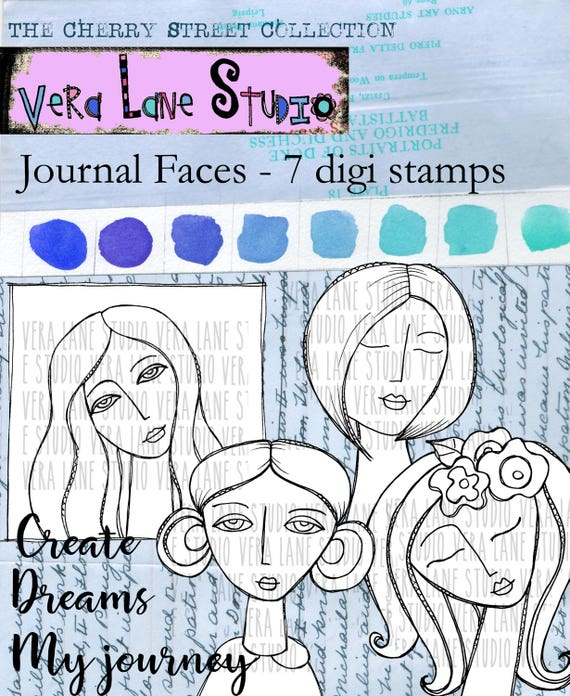 Journal Faces -- four whimsical faces with sentiments - 7 digi stamp bundle