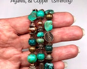 Genuine Turquoise, African Turquoise, Crackle Glass Beads, Copper Beads, Three Stretchy Bracelets