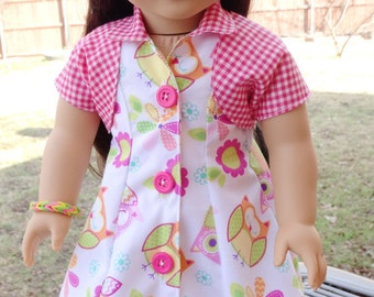 "18"" Doll Clothes 1950's Style ""Owl Print"" Dress Fits American Girl Maryellen, Melody, Gabriela"