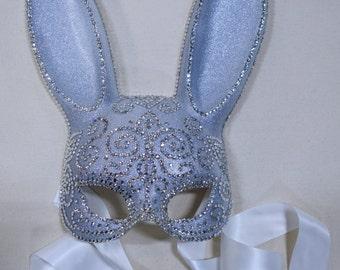 Diamond Crystals Mehndi Swirls Bunny Masquerade Mask