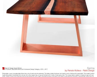 Luxury Live edge Dining Table SARMA. Modern Dining table. Copper inlay. Silver A' Design Award at A' Design Award & Competition 2017