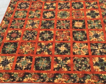 Fall Flowers Lap Quilt, rust, gold, green, brown, fall colors, handmade, MaterialThings2