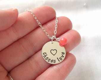 Choose Love Necklace ~ Sterling Silver, Hand Stamped, Love Wins, Good Karma, Inspiratinonal Jewelry, Positivity, Open Heart