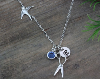 Sterling silver scissors Necklace, With personalized charms. Flying Bird. pair of scissors, stylist necklace, stylist. Stylist hair gift