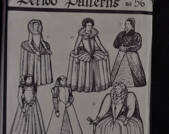 Late Tudor/Elizabethan (1545-1610) Period Costume Pattern - Misses' Sizes 8-18 - UNCUT -  Period Patterns 56
