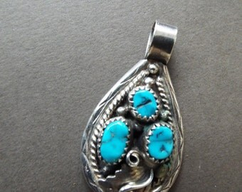Navajo sterling silver three turquoise stones  pendant signed ...weight 8.5 grams