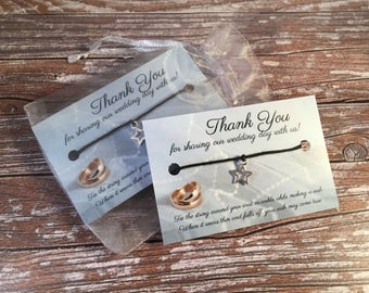 Star Wish Bracelet WEDDING FAVOURS - Wedding Favour Wishes - Black Hemp Bracelets - Silver Tone Star Charms - Friendship Bracelets