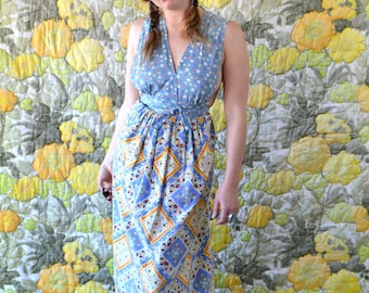 Sadie - long boho dress - hippie dress - 70s patchwork dress - blue and yellow floral print dress - summer dress - long sleeveless dress