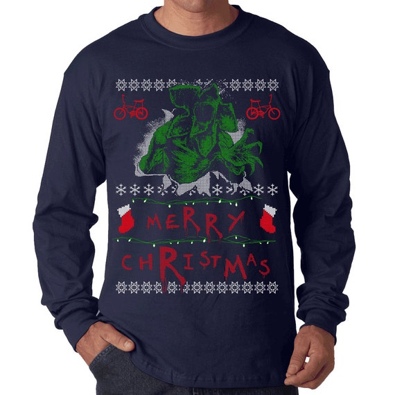 Stranger Christmas Long Sleeve T-Shirt Ugly Merry Christmas Alien Geek Demogorgon Geekery Nerdy Holiday Tee Shirt Tshirt Adult Sizes S-5XL