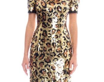 1980s Sequin Leopard Print Mini Dress Size: S/M