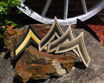 Vintage WWII US Army Private First Class PFC Rank Chevron Patches - lot of 4 - from DustyMillerAntiques