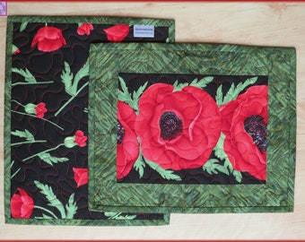Quilted Mug Rug Candle Mat Red Poppy Flora 572