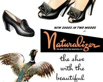 1945 Naturalizer Shoes & Borden's Hemo Milk Chocolate Drink Ads William Bolin Vogue Fashion Artist Peacock Pheasant Bird Feathers Wall Decor