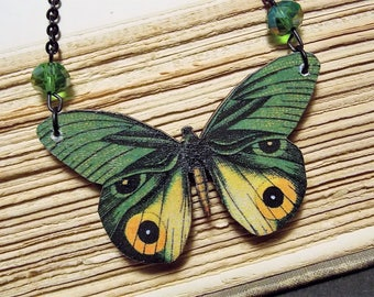 Yellow and Green Butterfly Statement Necklace