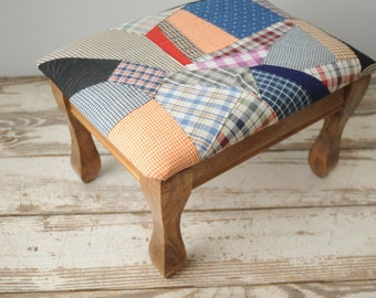 Mid Century Quilt Covered Footstool