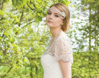 Downton Abbey Headband -1920s style headdress- Great Gatsby headdress - Art Deco Flapper bridal headdress - Bun wrap - Forehead band - Tiara