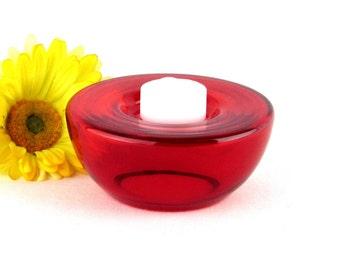Red Glass Candle Holder - Round Votive - Tea Light Holder - Vintage Home Decor
