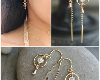 14k gold filled Threader earring, threaded thread chain, eternity circle ring, cubic zirconia cz diamonds & mini drops, pair dangle earrings