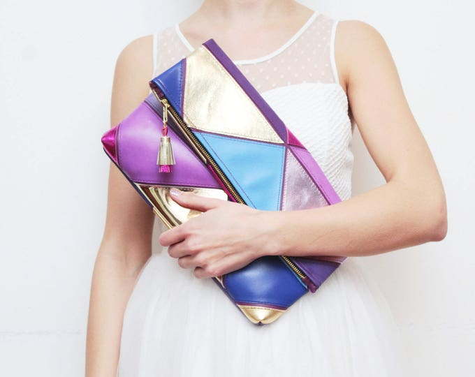 PRISM 21 /Large natural leather bag-leather purse-metallic leather bag-oversized clutch-geometric clutch-purple gold blue pink-Ready to Ship