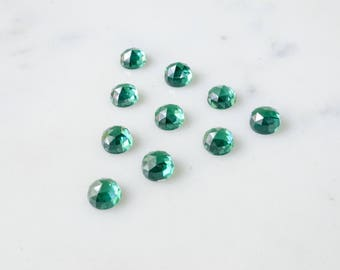 6mm green tourmaline rose faceted nano gemstones. green cabochons. rose cut cab. loose emerald lab grown green gems