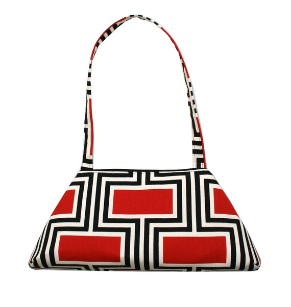 Black and red, geometric pattern, Large Retro, retro style, structured