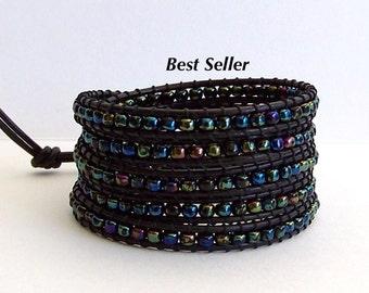 Multi Color Leather Wrap Bracelet - Multi Color Shimmering  Irridized Beads, Black Leather - Elegant Boho