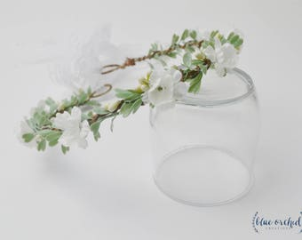 Flower Crown, Silk Flower Crown, Leaves, Artificial Flower Crown, Floral Crown, Silk Floral Crown, Greenery, Berries, White and Green, Cream