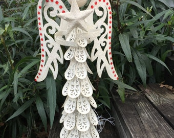 """24"""" White Lighted Angel w/Red Gemstones, Glittery White Metal Christmas Angel, Christmas Holiday Decor"""