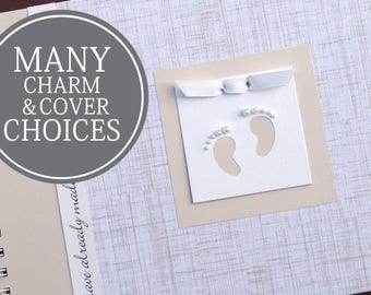 Personalized Pregnancy Journal | Pregnancy Gift | Pregnancy Memory Book | Gender Neutral | Personalized | Linen with Baby Footprints Charm