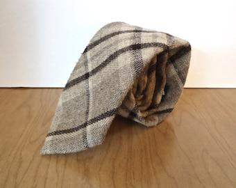 Wembley Plaid Wool Tie / vintage Woolcrofter gray tan brown pattern men's necktie