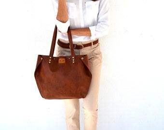Leather tote bag / Brown shoulder bag / Seal brown leather tote / Brown leather satchel / Brown leather handbag / Antique style leather