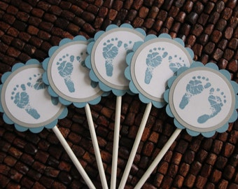 Baby Foot Print Baby Shower Cupcake Toppers- Baby Foot Print Birthday Party Cupcake Toppers set of 10