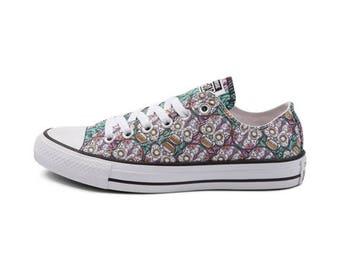Converse Low Top Pastel Aqua Green Pink Sugar Skull Custom Kicks w/ Swarovski Crystal Rhinestone Bling Chuck Taylor All Star Sneakers Shoe