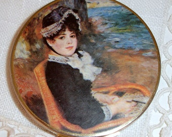 """Pill box, Vintage pill box, Round pill box with pill schedule, Victorian Woman, 3"""" round, 1950s pillbox, Mother's Day, Collectible gift"""