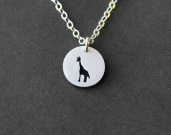 Handmade Tiny Sterling Silver Giraffe Necklace - Handcrafted Silver Jewelry - Silver Necklace - Giraffe - Animal Jewelry