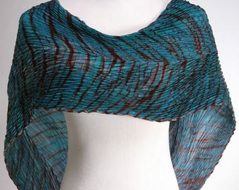Blue Silk Scarf Pleated Shibori Hand Dyed Luxury Wrap